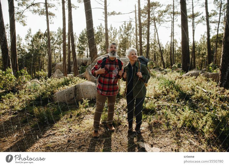 Elferly fit happy couple hiking through forest together on vacation man senior elderly rock nature outdoors hike sport lifestyle activity hiker active people
