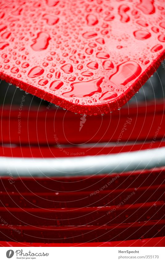 Water Red Cold Dye Rain Weather Glittering Wet Table Drops of water Chair Rainwater Café Tabletop Varnished Sidewalk café
