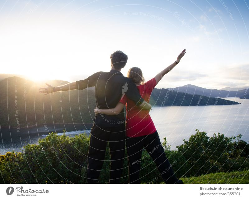 Human being Nature Youth (Young adults) Vacation & Travel Summer Ocean Landscape Young woman Far-off places Environment Young man Mountain Freedom Happy Couple