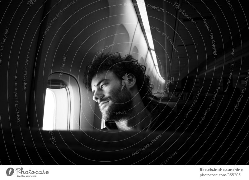 Human being Youth (Young adults) Vacation & Travel Adults Far-off places Young man Love 18 - 30 years Airplane window Dream Masculine Meditative Tourism Aviation Trip Airplane