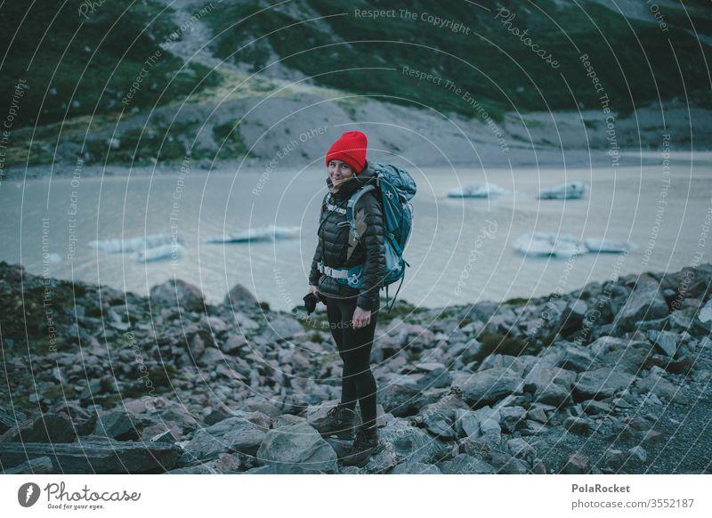 #As# WanderRed hiking trail Peak Wanderlust Femininity feminine Woman outdoor Force New Zealand Landscape Tourism Mountain wanderlust Vacation & Travel