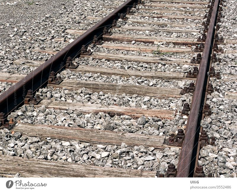 Railway tracks - Rusty old railroad tracks. rails Railroad tracks Railway rail stranded track Transport Infrastructure Direct lines Couple Parallel roasted