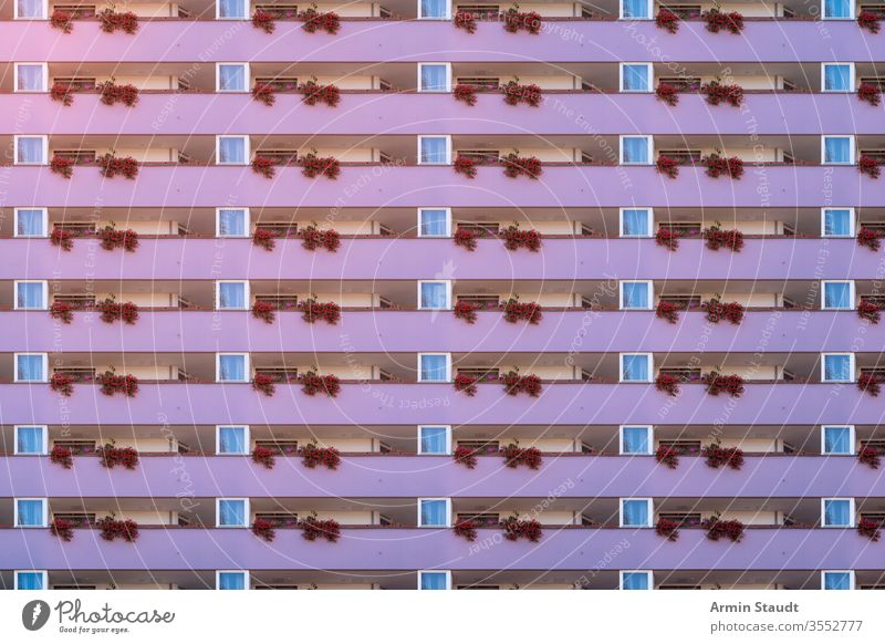 architectural pattern, purple balcony facade with geranium anonymity anonymous architecture background big block bourgeois building city construction exterior