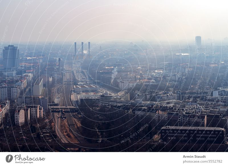 misty skyline of Berlin with freeway aerial aerial view air architecture attraction berlin building city destination dust empty europe european famous fog