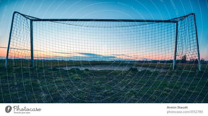 soccer goal in the sunset with blue sky and meadow architecture autumn background ball berlin closeup cloudscape competition empty europe evening fall field