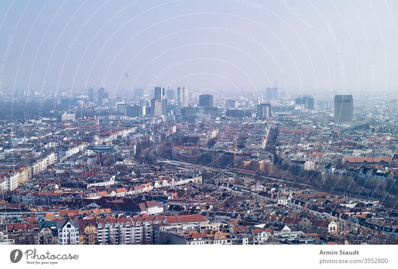 panorama of Berlin, on a hazy day aerial aerial view architecture attraction balloon berlin building city destination dust empty europe european famous fog