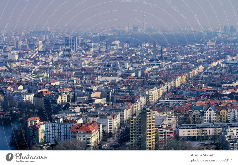 aerial view panorama of Berlin on a misty day berlin Skyline street architecture attraction building city destination dust empty europe european famous fog