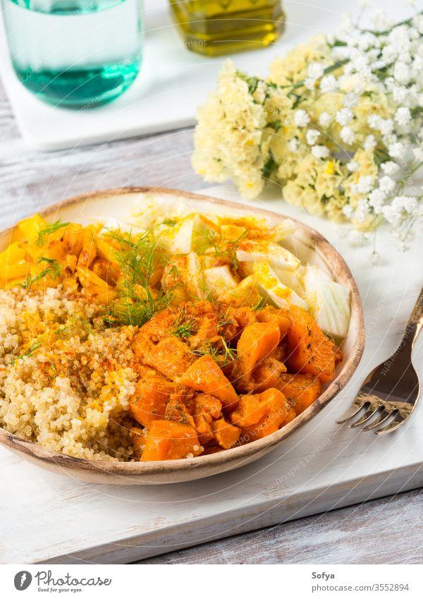 Quinoa bowl with pumpkin, fennel, bell pepper quinoa lunch autumn turmeric vegetable gluten free healthy dinner spice diet detox dish fall light spring