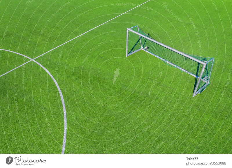 On the football field #2 Football pitch amateur football field Sports drone from on high Goal Ball sports