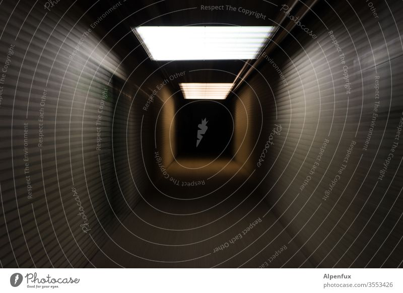 Tunnel vision | taken literally Light Deserted Central perspective Shadow conceit Colour photo Loneliness Fear Threat Dangerous Empty Panic Lighting Black