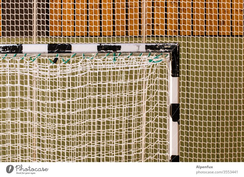 well connected Soccer Goal Gymnasium Net Deserted Colour photo Football pitch Sports soccer Stadium Sporting event Sporting Complex Leisure and hobbies