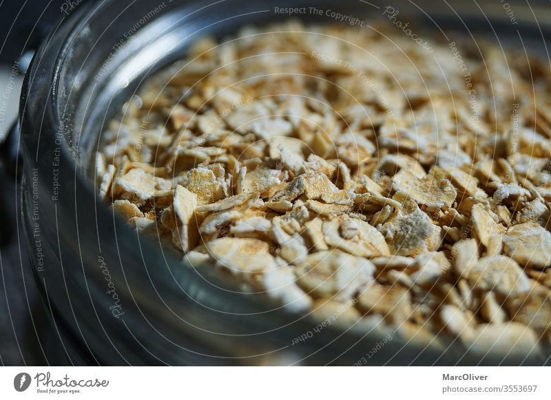 Oatmeal in a glass Oat flakes Oats oat consumer oat flake Food Breakfast Snack Cereal Healthy Meal Nutrition Diet flocculate natural Bowl oat flakes in glass