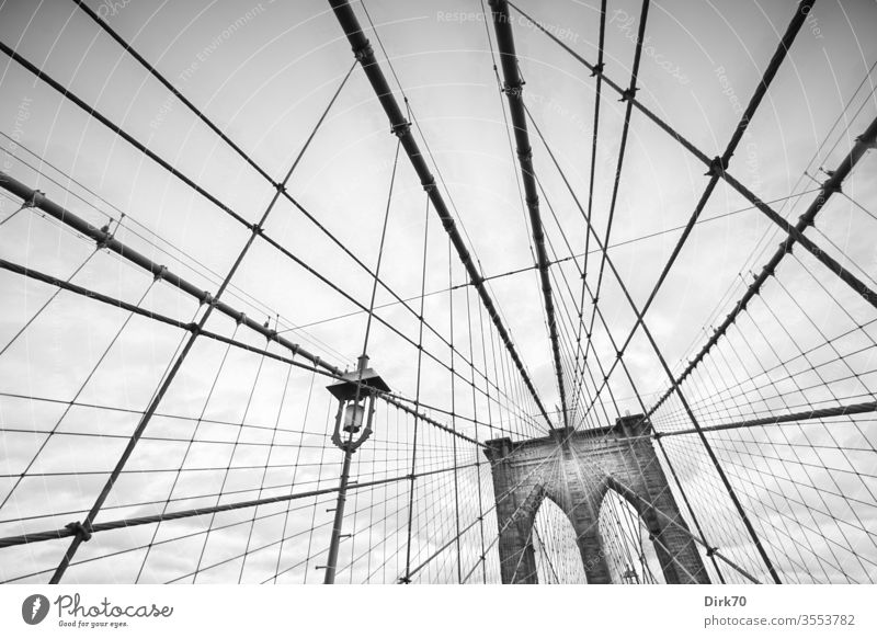 Brooklyn Bridge, black and white bridge Suspension bridge ropes New York City Exterior shot Town USA Tourist Attraction Manhattan Landmark Architecture