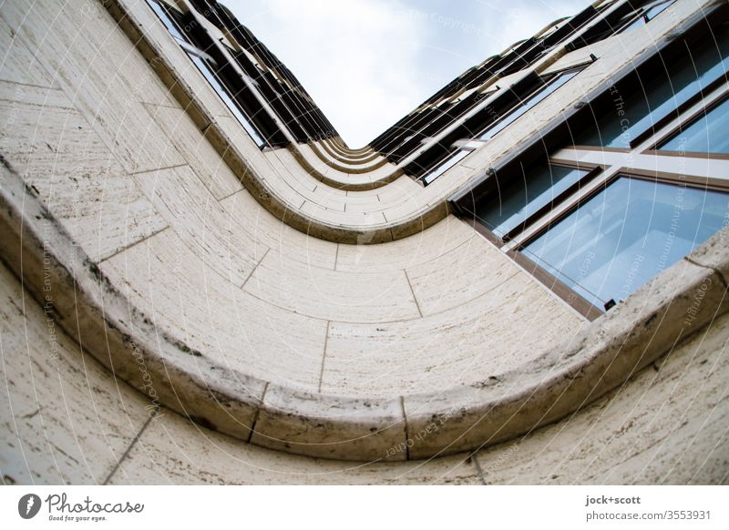 Facade with swing Curved architectural photography Worm's-eye view Structures and shapes Architecture built Window Cladding Undulation Symmetry Style Quality