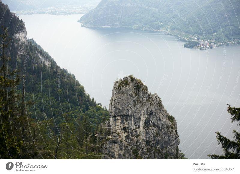 Alpensee View over Hoisen to Traunkirchen am Traunsee in Upper Austria Alps alpine lake Salzkammergut Salzkammergut lakes Traunstein Lake Traunsee shore