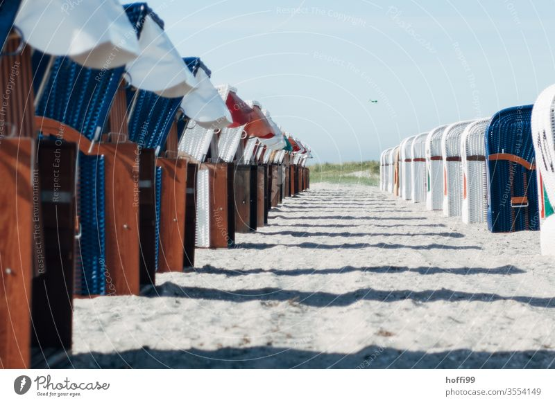Beach chairs in line waiting for the guests beach chair Ocean Beach chair rental lockdown Vacancy vacant Empty Baltic Sea Vacation & Travel Sand Coast