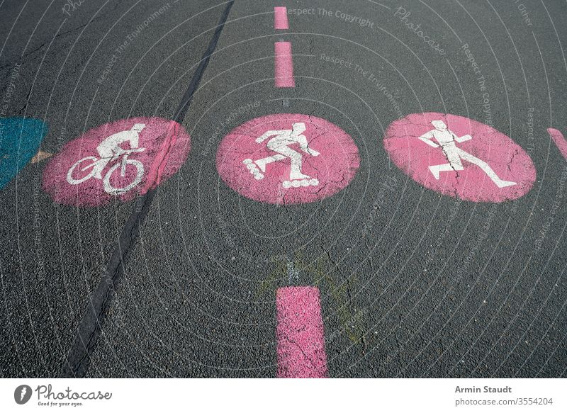 red road marking for bicycles, skater and jogger Sports sign icon Symbols and metaphors background bike caution direction drive hobby information lane limit