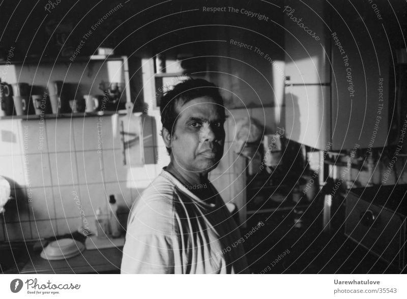 LetUrEysSpeek Black White Emotions Kitchen Man Looking Character