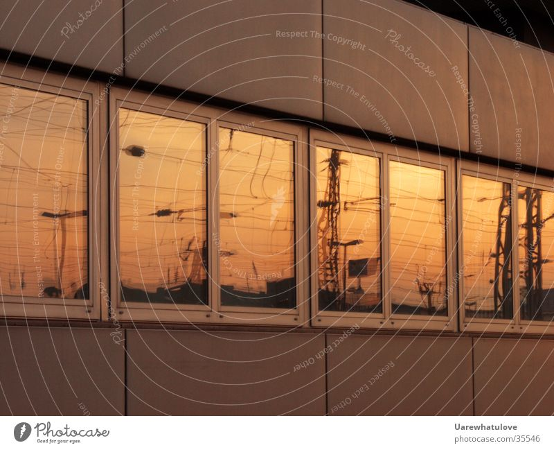 Sun Window Distance Mirror Sunset Electricity Red Yellow Building Science & Research Energy industry Train station