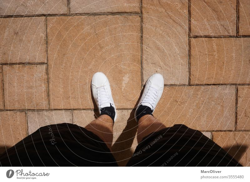 In summer feeling with white sneakers and short pants Summer Summer feeling White white shoes Sneakers summer shoes Footwear Terrace Manly male legs Sun
