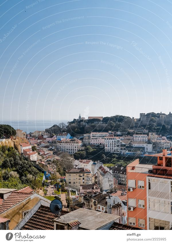 View of the old town of Lisbon in good weather Portugal lisboa outlook Panorama (View) Old town Vantage point vantage point Tourism Town Vacation & Travel Day