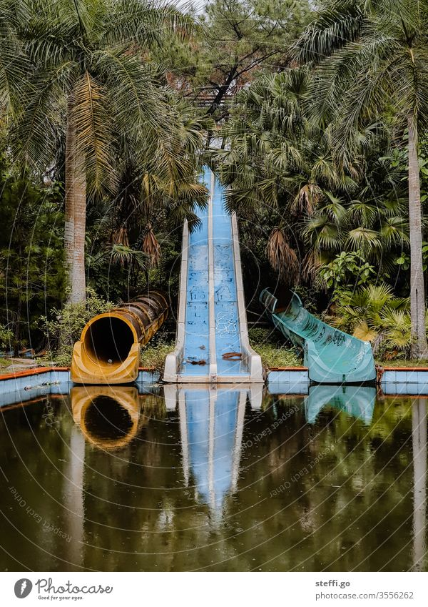 abandoned and overgrown water slides in a water park in the jungle with palm trees in Vietnam lost places Hue Asia forsake sb./sth. Old Deserted Colour photo