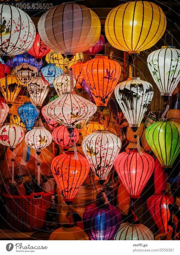 traditional colorful lanterns in Hoi An, Vietnam at night Asia Asian Lampion Lantern variegated Shopping shank Colour photo Exterior shot Vacation & Travel
