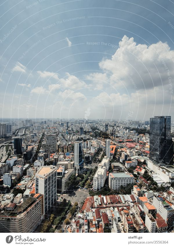 View over Saigon / Ho Chi Minh City in Vietnam in good weather Ho chi minh City Asia Town Skyline High-rise High-rise facade Downtown Colour photo Exterior shot