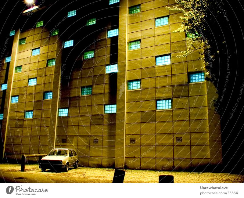 Secret experiments Window Building Parking lot Cyan Night Mysterious Science & Research Experimental Dark Yellowness Architecture Car