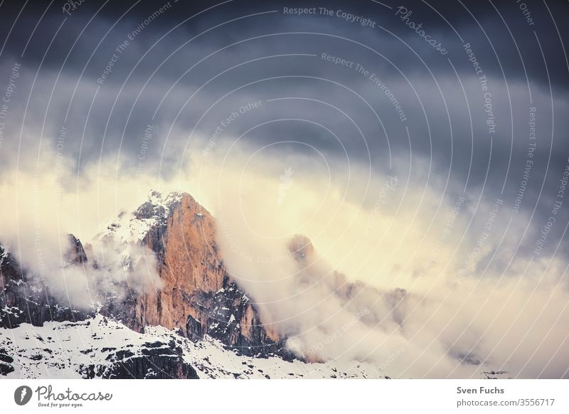 A mountain massif of the Dolomites. Photographed in South Tyrol mountains Clouds Weather Thunder and lightning Dramatic Mountaineering Climbing Hiking trekking