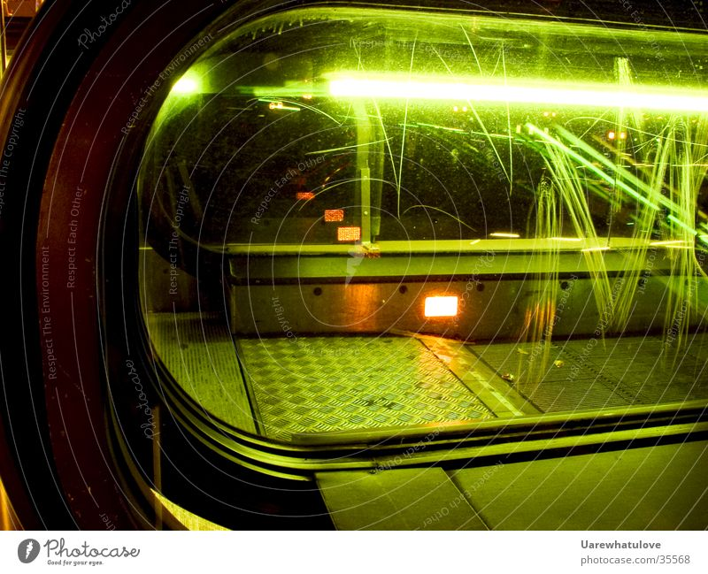 Escalator Style Underground London Underground Neon light Light Scratch mark Green Night Transport Glass reflection Orange Modern Movement