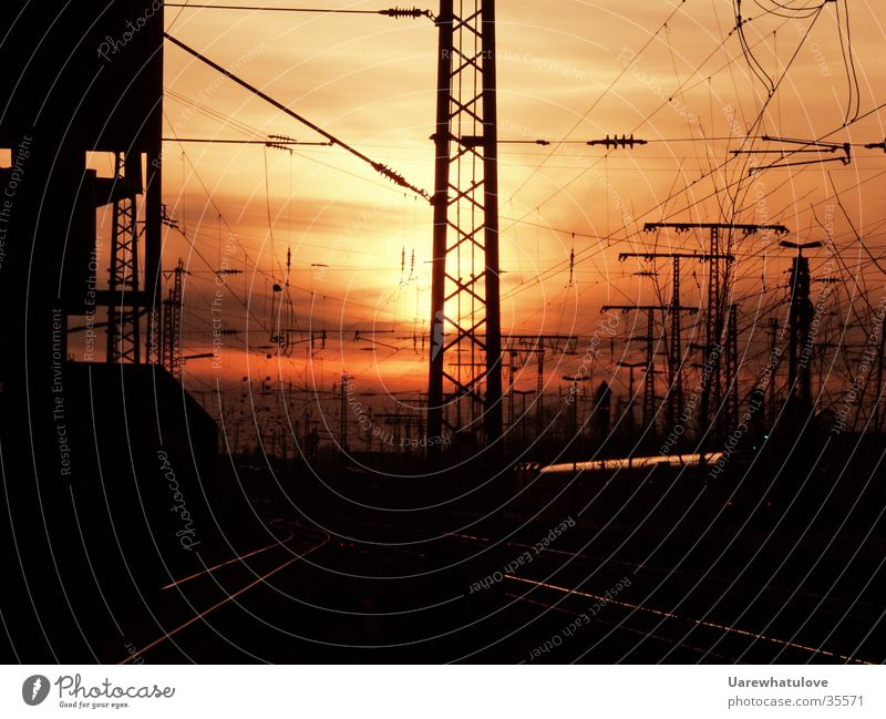 Sun Transport Railroad Energy industry Electricity Railroad tracks Train station Dusk