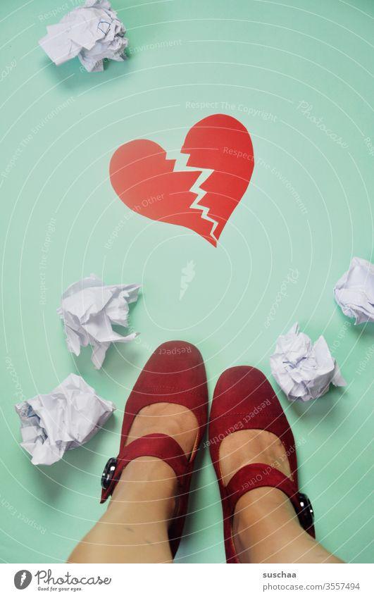 taken literally, it's heartbreaking Heart Pain heartache broken heart torn heart shattered ball of paper foot Legs feminine red women's shoes Red Lovesickness