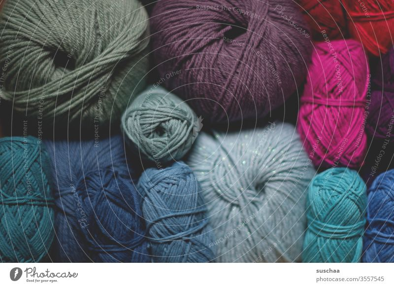 conglomerate ball of wool Wool Ball of wool Handcrafts Knit Crochet colors bluish pink woolen threads Leisure and hobbies Soft Warmth Calm Wooly Close-up autumn