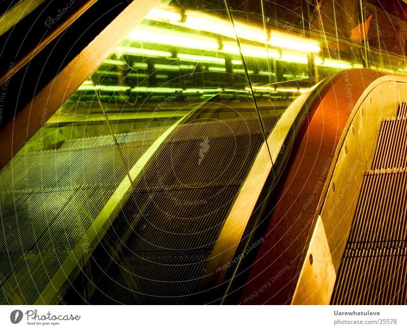 Style escalator Escalator Night Light Green Long exposure Architecture Orange Movement Modern Glass