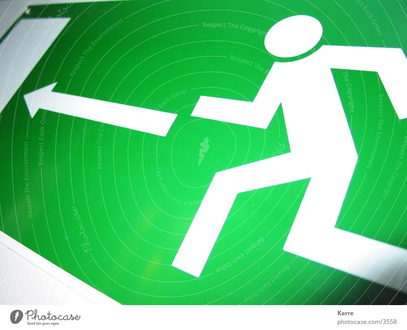Green Fear Door Going Signs and labeling Walking Blaze Running Lawn Signage Arrow Obscure Escape Rescue Panic Lanes & trails