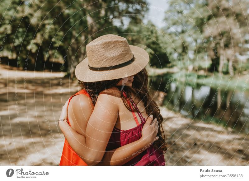Sisters hug sisters Love Human being Exterior shot Happy Infancy Together Colour photo Friendship 2 Joy Girl Day Family & Relations Lifestyle Nature Happiness