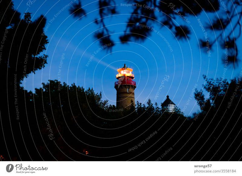The two lighthouses at Cape Arkona at late dusk Lighthouse Cap Arcona island rebuke Baltic Sea Twilight Dusk blue hour Night arrogance Beacon Rügen Coast