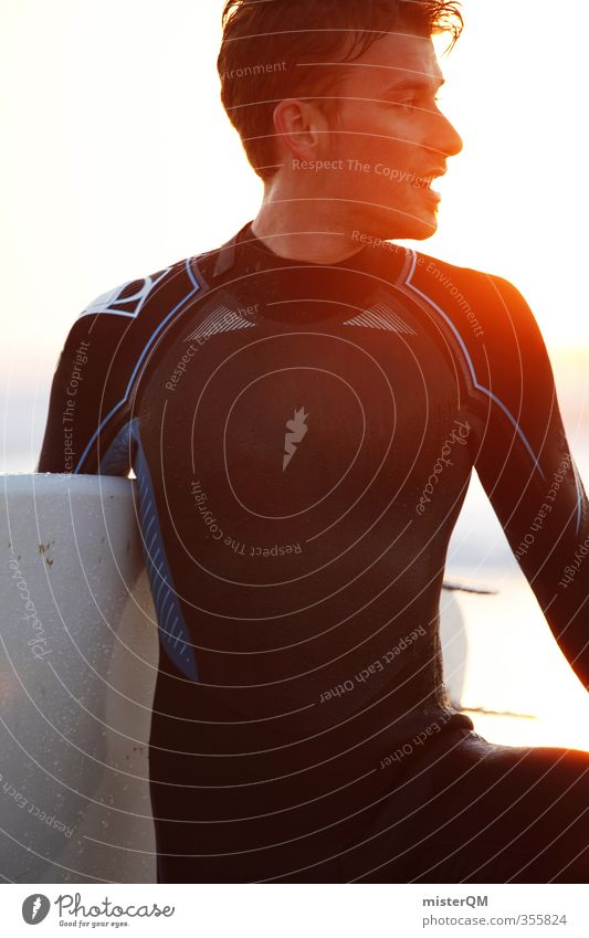 Light Surfer. Human being 1 Esthetic Contentment Surfing Surfboard Surf school Portugal Extreme sports Aquatics Fitness Athletic Sunbeam Back-light Masculine