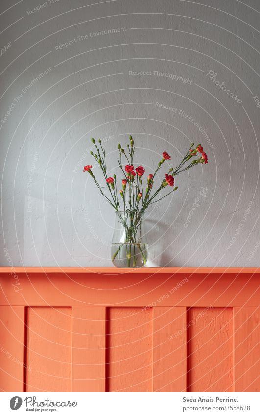 flowers Bouquet Interior shot Design Gray Orange Vase interior decoration Flat (apartment) dwell Living room Summer Spring colourful Colour Water