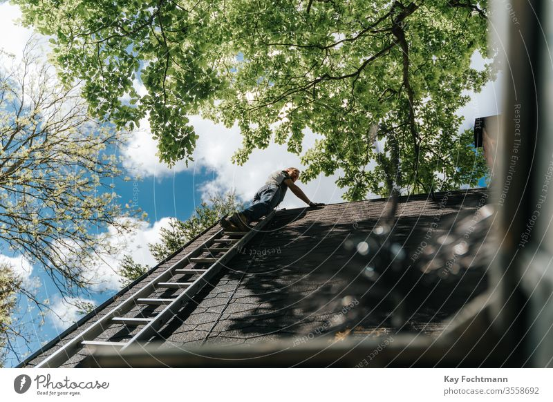 landlord who climbs a ladder to the roof Aluminum Architecture Authentic built purge ascent Climbing Construction Dangerous heightened Property fine tuning Home
