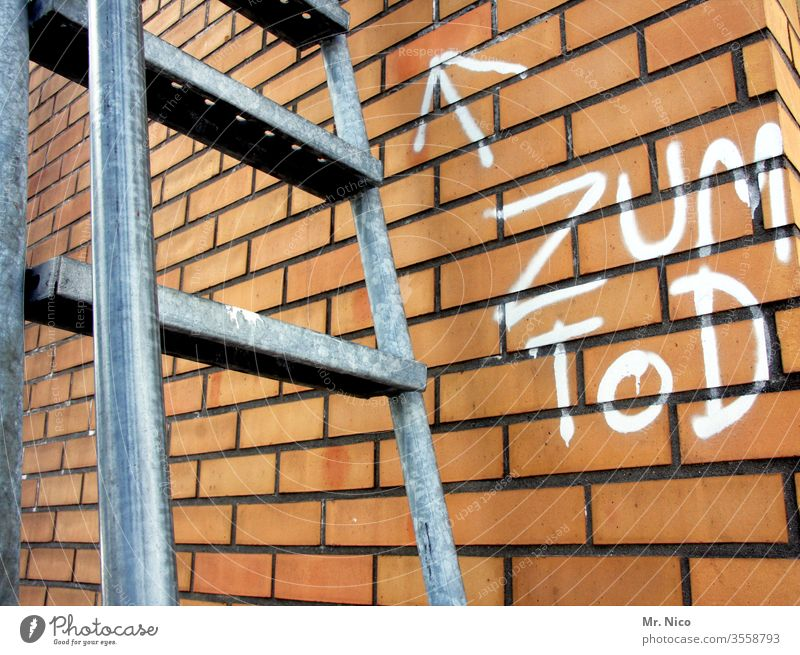 Suicide risk Ladder Stairs Death To fall Wall (building) Go up Crash Rung Sudden fall Fear of heights Downward built case Wall (barrier) Graffiti Arrow