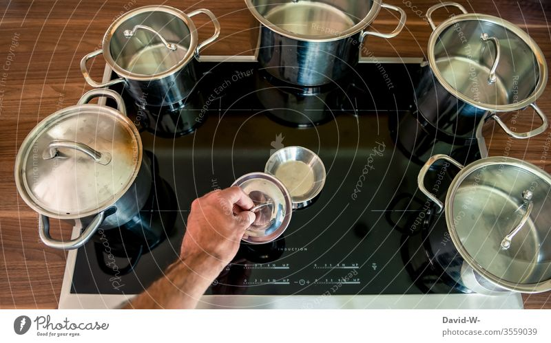 Every pot finds its lid   literally any Pot Figure of speech Proverb visualization Creativity Funny boil cake pots saucepan Cooking Stove Househusband Arrange