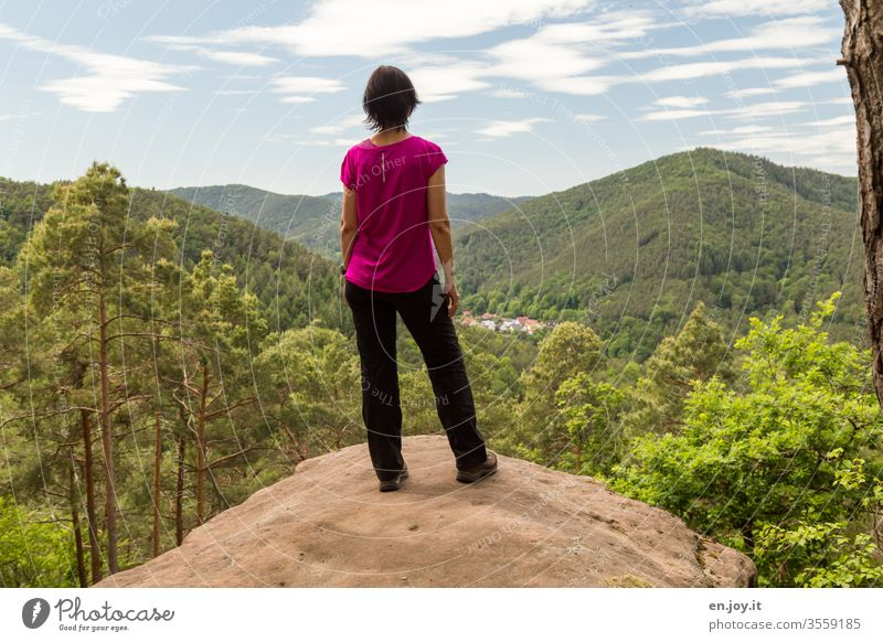 Rear view of a woman standing on a rock and admiring the beautiful view of the Palatinate Forest Woman Vantage point Palatinate forest Summer vacation Trip