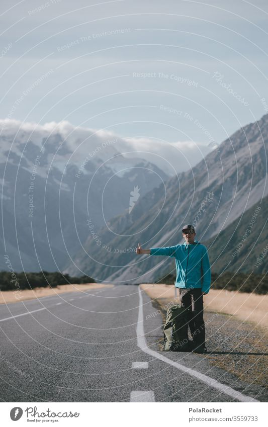 #As# Hitchhiking Hitchhike hitchhikers go by hitch per hanger New Zealand New Zealand Landscape Mount Cook Street Thumbs up Wait travel favorable Free-of-charge