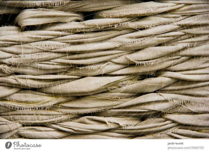 Wickerwork from linen cloth Abstract Detail Street art Ravages of time Linen Brown Surface structure Weathered wickerwork Thread Structures and shapes Cloth