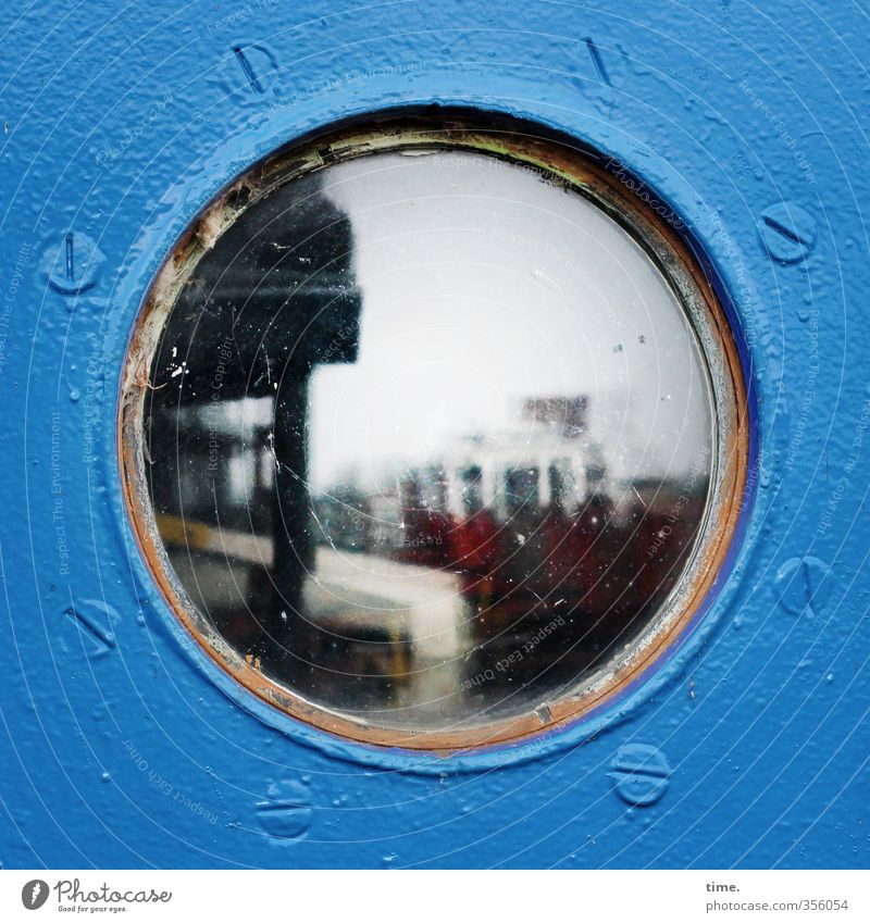 Blue Town Window Dark Watercraft Flat (apartment) Living or residing Metal Esthetic Glass Authentic Perspective Hamburg Protection Discover Safety