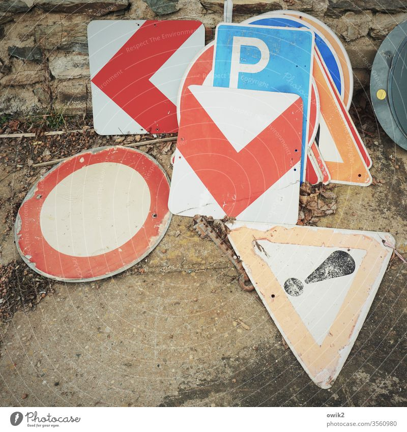 Coloured sheets Signs Transport Road sign Collection Signs and labeling Colour photo Exterior shot Signage Deserted Day Street Road traffic