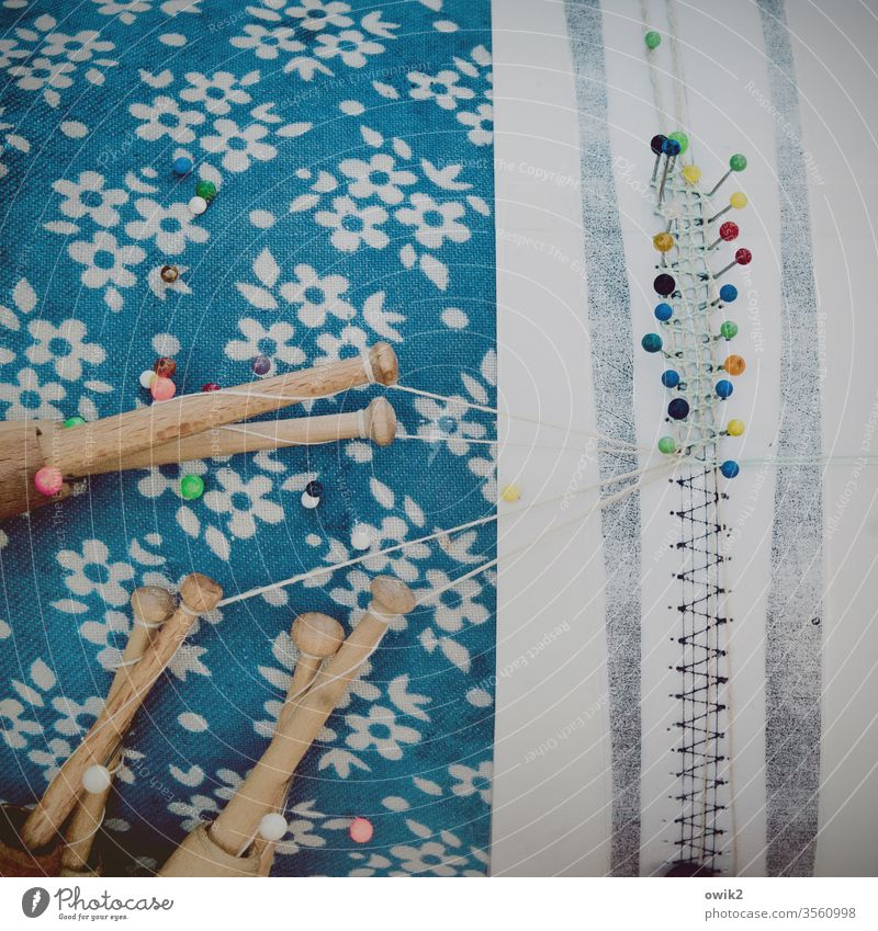 Like clockwork Handcrafts hobby Leisure and hobbies make pillow lace Pattern Lace patterns threads Tool wood Textiles needles Handicraft Colour photo Sewing