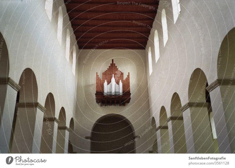 Church interior Organ Nave Central perspective Romanesque Romansh Sanctuary Light architectural details Architecture and buildings Belief Prayer Pentecost